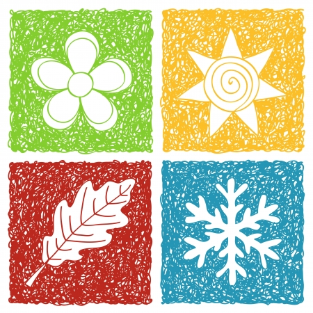 four hands: Illustration of four seasons icons - doodle drawings on white background Illustration