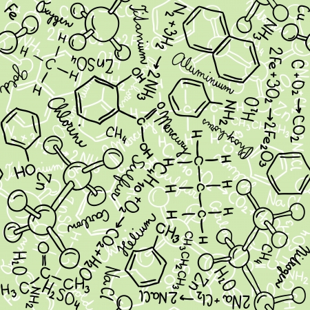 Seamless pattern background - illustration of chemistry drawings, doodle style Vector
