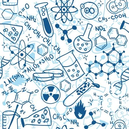 beaker: Patrón de fondo sin fisuras - ilustración de dibujos científicos, estilo garabato