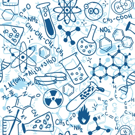 science lab: Seamless pattern background - illustration of science drawings, doodle style