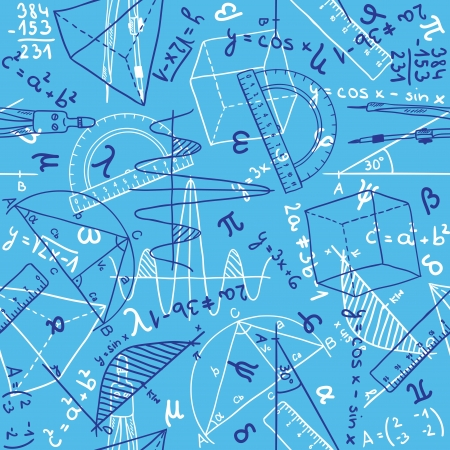 math: Seamless pattern background - illustration of mathematics drawings, doodle style