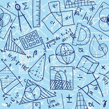signos matematicos: Patr�n de fondo sin fisuras - ilustraci�n de dibujos matem�ticas, estilo garabato Vectores