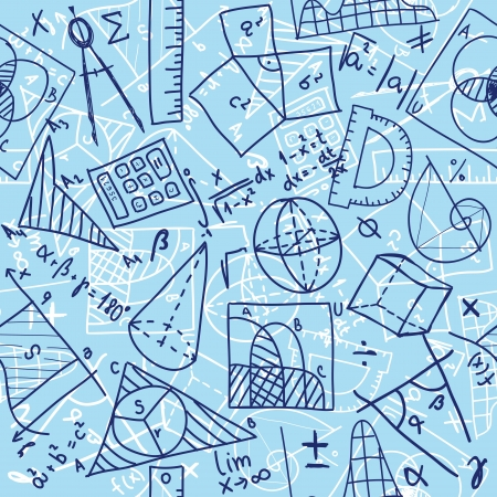 algebra: Seamless pattern background - illustration of mathematics drawings, doodle style