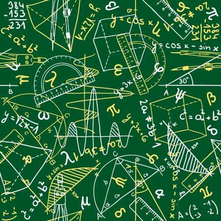 Nahtlose Muster Hintergrund - Abbildung der Mathematik Zeichnungen, Gekritzelart Standard-Bild - 17526836