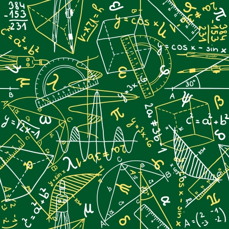 physics: Seamless pattern background - illustration of mathematics drawings, doodle style