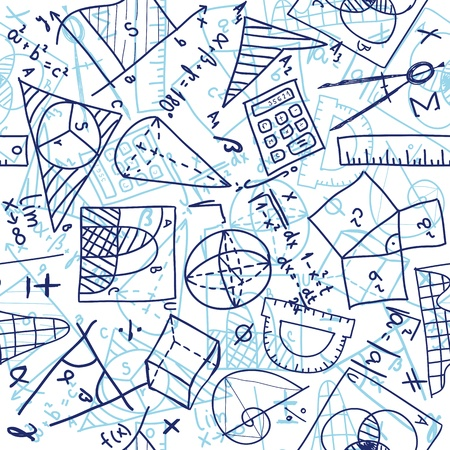 Seamless pattern background - illustration of mathematics drawings, doodle style Vector