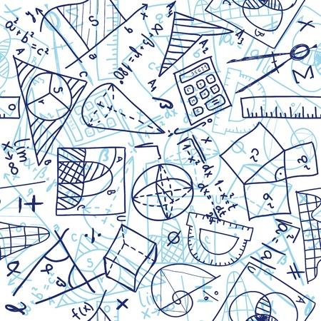 Seamless pattern background - illustration of mathematics drawings, doodle style