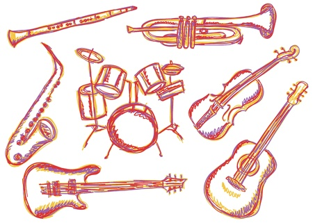 Illustration of music instruments - doodle drawings on white background Vector