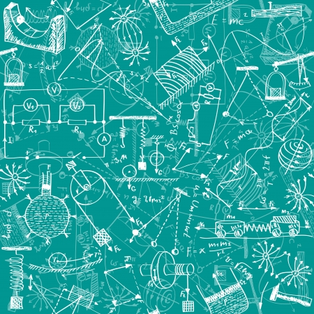 physic: Seamless pattern background - illustration of physics drawings, doodle style Illustration