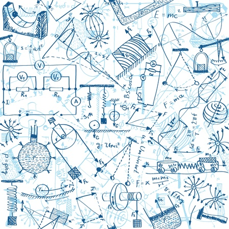 physics: Seamless pattern background - illustration of physics drawings, doodle style Illustration