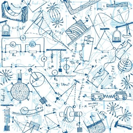 fizika: Zökkenőmentes minta háttér - Ábra fizika rajzok, doodle stílusban Illusztráció