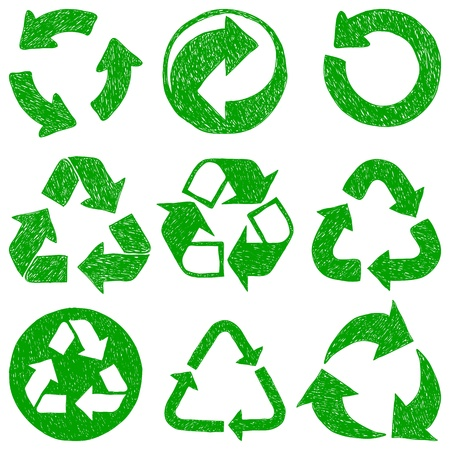Illustration of recycle doodle icons - doodle drawings on white background Vector