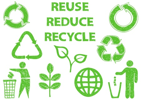 environment friendly: Illustration of recycle doodle icons - doodle drawings on white background Illustration