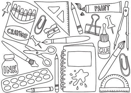 Illustration of school or office supplies - drawings on white background Vector