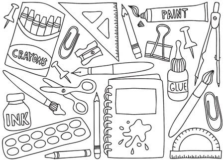 ink sketch: Illustrazione di scuola o di forniture per ufficio - disegni su sfondo bianco