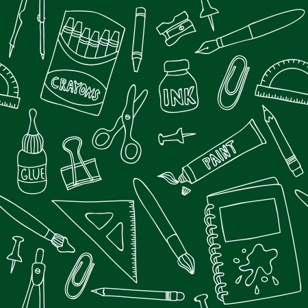Illustration of school or office supplies - seamless pattern on green board Vector