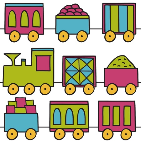 Illustration of colored train - seamless pattern on white background Vector