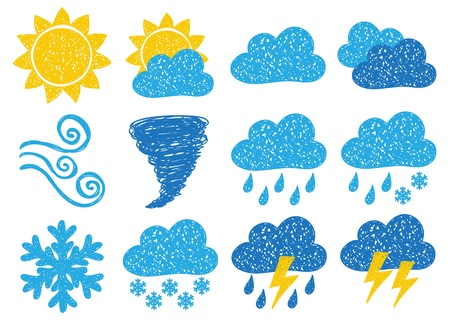 day forecast: Illustration of weather icons - doodle drawings on white background