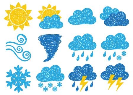 Ilustración de los iconos del tiempo - dibujos del doodle en fondo blanco Ilustración de vector