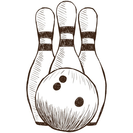 bowling: Illustration of bowling pins and ball - hand drawn style