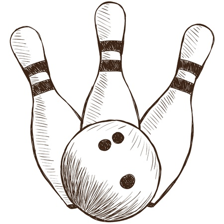 ten pin bowling: Illustration of bowling pins and ball - hand drawn style