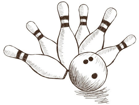 in ten: Illustration of bowling pins and ball - hand drawn style