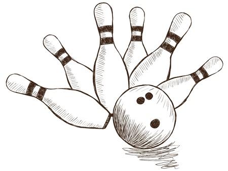 Illustration von Bowling Pins und Ball - Hand gezeichnet Stil