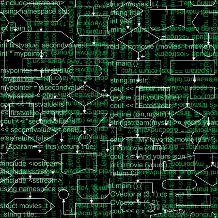 Illustration of flowchart diagrams and programming code, seamless pattern background Vector