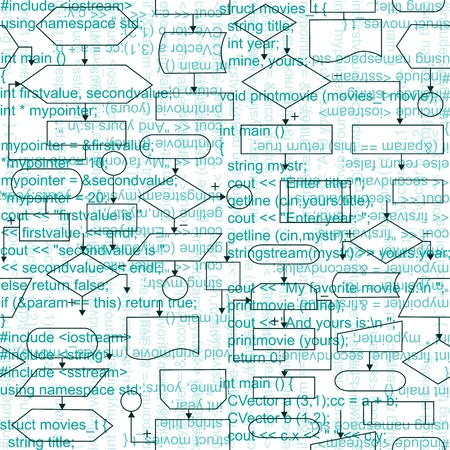 Illustration of flowchart diagrams and programming code, seamless pattern background