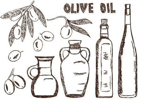 cooking oil: Illustration of olive oils - doodle drawings on white background