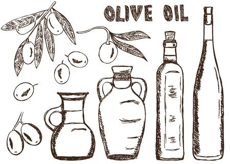 olive farm: Illustration of olive oils - doodle drawings on white background