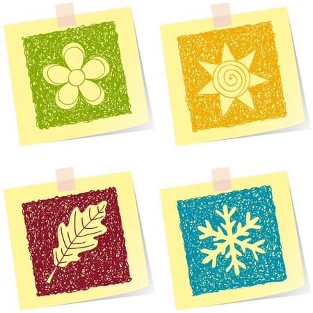 quatre saisons: Illustration de croquis quatre saisons sur les billets papier Illustration