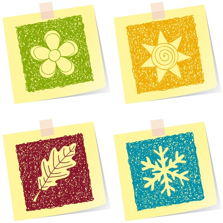Illustration of four seasons sketches on paper notes Vector