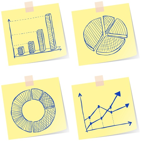 Illustration of charts sketches on yellow paper notes Vector