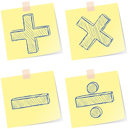 Illustration of mathematics signs sketches on paper notes Vector