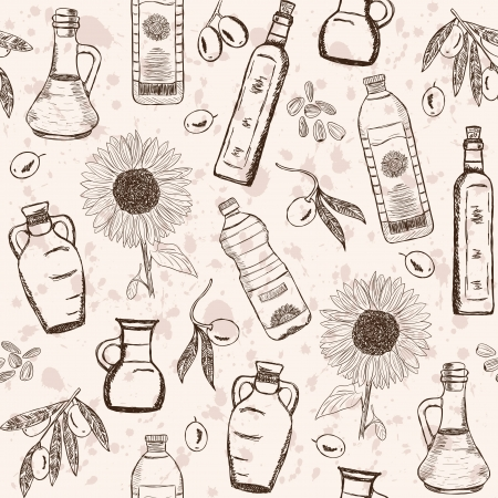 Olive and sunflower oils doodles on seamless pattern Vector