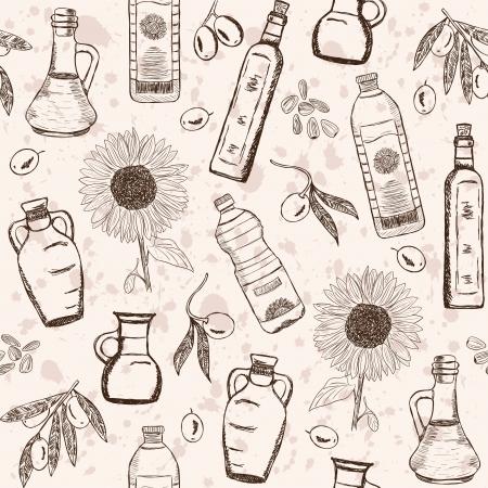 graine tournesol: Olive et de tournesol huiles griffonnages sur seamless pattern