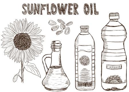 plastic bottle: Illustration of sunflower oils and sunflower, doodle style