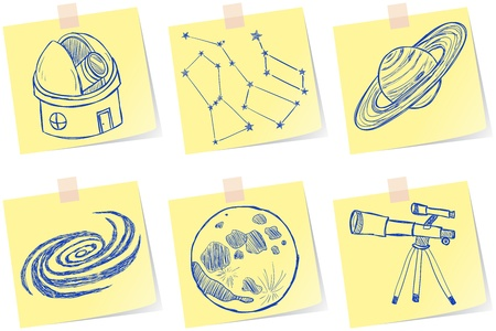Illustration of astronomy and observatory sketches on paper notes Vector