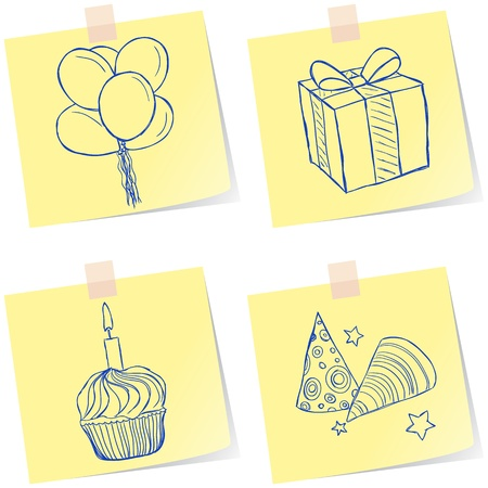 Illustration of birthday party sketches on paper notes Vector