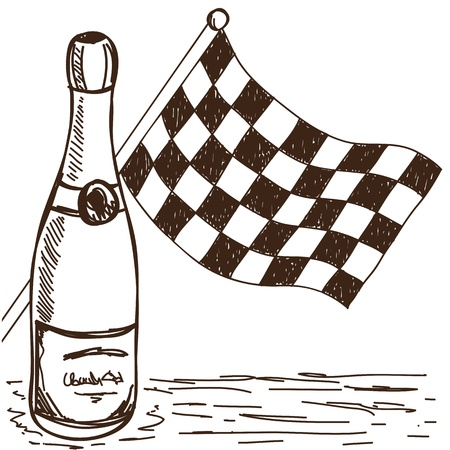 Illustration of checkered flag and champagne, doodle style drawing Vector