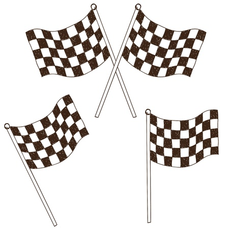 Illustration of checkered flag, doodle style drawing Vector