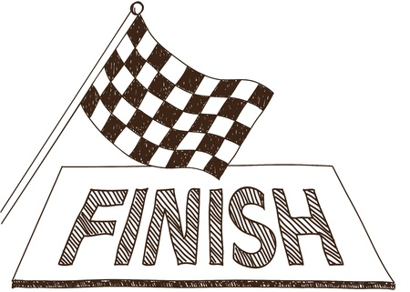 Illustration of checkered flag and finish, doodle style drawing Vector