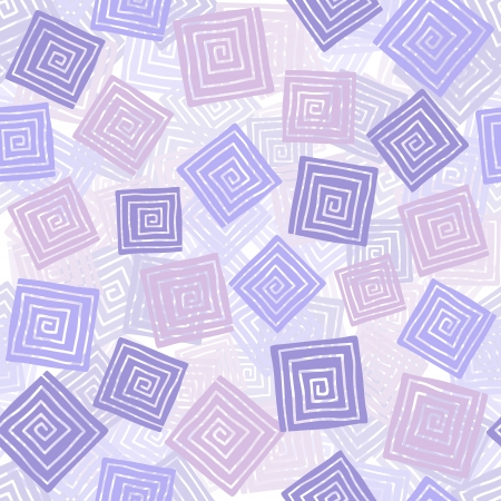 Squares with spiral illustration, seamless pattern background Vector