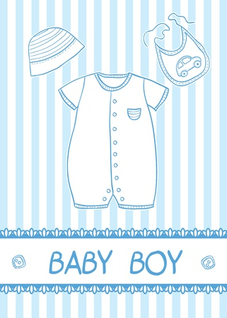 New baby boy card with clothes, vector illustration Stock Vector - 19295737
