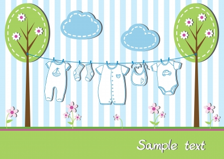 New baby boy card with clothes, vector illustration Ilustracja