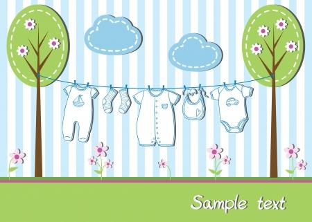 Nieuwe baby boy kaart met kleren, vectorillustratie Stock Illustratie