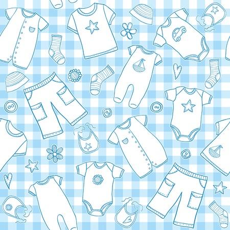 赤ちゃん男の子服シームレスなパターン、ベクトル イラスト