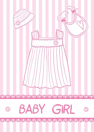 New baby girl card with clothes, vector illustration Vector
