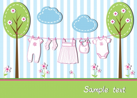 Nieuwe baby meisje kaart met kleren, vectorillustratie